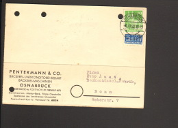 Bizone 10 Pfg.Bauten U.Notopfer Auf Postkarte Aus Osnabrück V.1950 Fa.Pentermann Bäckerei-Bedarf - Bizone