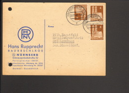 Bizone 3 X 4 Pfg.Bauten  A.Postkarte V. Nürnberg 2 BA V.1948 Abs.Fa. Rupprecht Baubeschläge - Bizone