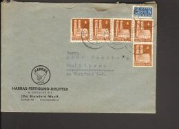 Bizone 5 X 4 Pfg.Bauten M.Notopfer Auf Brief V. Bielefeld V. 1949 Abs.Harras-Fertigung - Bizone