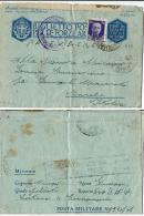 BIGLIETTO FRANCHIGIA WWII POSTA MILITARE 151 SEZ A 1943  PORTO EDDA X CAMERINO - 1900-44 Vittorio Emanuele III