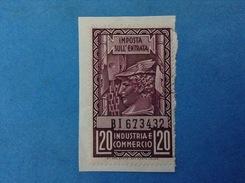 REGNO D'ITALIA MARCA DA BOLLO IMPOSTA SULL'ENTRATA INDUSTRIA E COMMERCIO DA 20 LIRE USATA SU FRAMMENTO - 1900-44 Vittorio Emanuele III