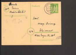 Bizone 10 Pfg.Ganzsache Holstentor  Aus Peine V. 1951 Rückseitig Text - Zone Anglo-Américaine