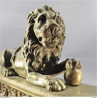 ~ LION EN BRONZE XVIII Eme SIECLE - Animal Statue Sculpture Décoration Cheminée - Bronzes