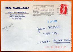 41 MUR DE SOLOGNE   FOIRE AUX CHIENS 1991 Lettre Entière N° HH 442 - Mechanische Stempels (reclame)