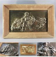 ~ BAS-RELIEF MYTHOLOGIQUE EN BRONZE - Mythologie Ange Putti Angelot Sculpture - Bronzes