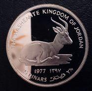 "JORDAN 2 1/2 DINARS 1977 SILVER PROOF ""Conservation"" Free Shipping Via Registered Air Mail - Jordan"