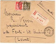 Lettre Recommandée De Romorantin (03.03.1933) Pour La Ferté Saint Aubin_tarif à 1.75 Ff - 1932-39 Paix