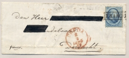 Nederland - 1867 - 5c Willem III, 2e Emissie, Op Franco Omslag Van Dordrecht Naar Breda - Periode 1852-1890 (Willem III)