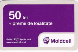 Moldova ,  Moldavie , Prepaid Phonecard - Moldcell , 50 Lei , Tipe 1B , Paper , Used - Moldavië