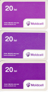 Moldova , Moldavie  Moldau ,  Prepaid Phonecard -  Moldcell , 20 Lei - 3 Differents Cards , Paper , Used - Moldova