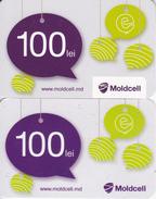 Moldova , Moldavie  Moldau , Prepaid  Phonecard - Moldcell , 100 Lei , 2 Tipes- Differents , Paper , Used - Moldova