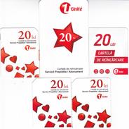 Moldova ,  Moldavie , Prepaid Phonecard - Unite , 20 Lei , Set  Total, Tipe 1+2+3 , 5 Differents , Paper , Used - Moldova
