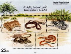 UAE - 2012 - Desert Snakes - Mint Souvenir Sheet - United Arab Emirates