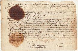 Document Manuscrit Ancien Vers 1570 Avec Cachet - Manuscripts