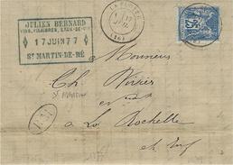 1877- Lettre De LA FLOTTE ( Charente Maritime ) Affr; 25 C Sage Oblit. Cad T17 + B M  Boite Mobile De St Martin En Ré - Postmark Collection (Covers)