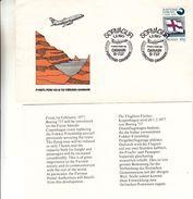 Féroé - Lettre De 1977 - Oblit Sorvagur - 1er Vol Foroyar  Danemark - Drapeaux - Féroé (Iles)