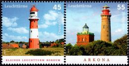Germany - 2012 - Lighthouses - Borkum And Arkona - Mint Stamp Set - Unused Stamps