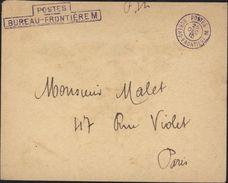 Guerre 14 Postes Bureau Frontière M Violet CAD Postes Bureau Frontières 25 12 1915 FM Franchise Militaire Le Bourget - 1. Weltkrieg 1914-1918