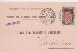 Regno Storia Postale - L.30, IV Centenario Della Nascita Di E. Filiberto, Su Cartolina Postale Con Risposta Pagata - 1900-44 Vittorio Emanuele III
