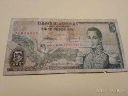5 Peso Oro 1977 - Colombia