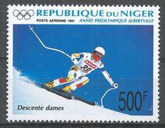 Niger 1991. Scott #C394 (M) Downhill Skiing, Winter Olympics Albertville - Niger (1960-...)