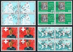 LA SERIE 4xBLOCS DE 4 OBLITERES 1er/J.8.3.1965. C/.S.B.K. Nr:428/431. Y&TELLIER Nr:743/746. MICHEL Nr:808/811. - Schweiz