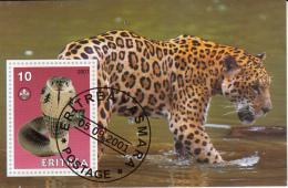 Eritrea 2001 Souvenir Sheet Snake, Scouting Emblem Cancelled - Snakes