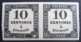 Lot R1510/257 - 1859 - TIMBRE TAXE / PAIRE N°2 - LUXE - NEUF*/NSG - Cote : 90,00 € - 1859-1955 Mint/hinged