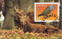 Eritrea 2001 Souvenir Sheet Parrot, Scouting Emblem Cancelled - Game