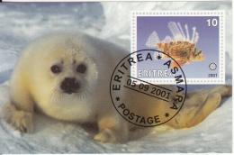Eritrea 2001 Souvenir Sheet Tropical Fish, Rotary Emblem Cancelled - Fishes