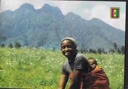 RWANDA - MAMMA CON BIMBO - VIAGGIATA 1992 -FRANCOBOLLO ASPORTATO - Rwanda
