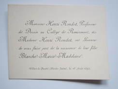 1892 Faire Part De Naissance VILLARS Le PAUTEL Haute-Saone Henri RONDOT, Professeur De Dessin Au Collège De REMIREMONT - Birth & Baptism