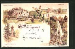 Lithographie Ilmenau, Schloss Altenstein, Kickelhahn, Wasserfall Im Trusenthal, Schmücke - Ilmenau
