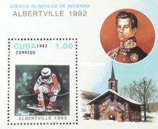 Cuba 1992 Albertsville Winter Olympic Games Sports Downhill Skiing Sporter People S/S Stamp MNH - Cuba