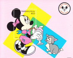 Maldives 1999 MNH Scott #2357 Souvenir Sheet Rf25 Minnie Sipping Drink - Disney