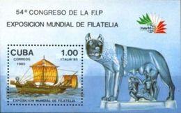 Cuba 1985 The Italia 85 International Stamp Exhibition Rome EXPO Philatelic Exhibitions Ship Sailing Boat S/S Stamp MNH - Kuba