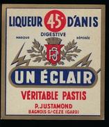 """étiquette  Liqueur D'Anis """"un éclair"""" P Justamond Bagnols S/ceze - Etiquettes"""