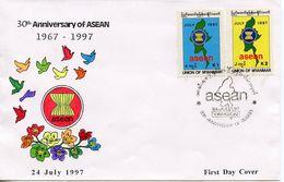 MYANMAR  -  1997 The 30th Anniversary Of ASEAN   FDC3119 - Myanmar (Burma 1948-...)