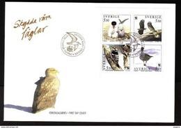 PROTECTED BIRDS SEA EAGLE CASPIAN TERN WOODPECKER GOOSE SWEDEN SCHWEDEN SUEDE 1994 MI 1847 - 1850 FDC Slania - Adler & Greifvögel