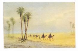 EGITTO - A CARAVAN IN THE EGYPTIAN DESERT- ILLUSTRATA A.BISCHI  VIAGGIATA    FP - Andere