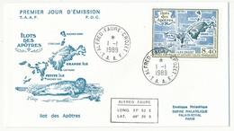 TAAF - Enveloppe FDC - Îlot Des Apôtres - Alfred Faure Crozet - 1-1-1989 - FDC