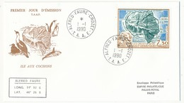 TAAF - Enveloppe FDC - Île Aux Cochons - Alfred Faure Crozet - 1-1-1990 - FDC