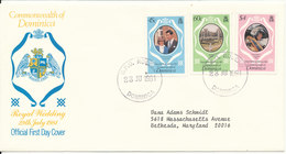 Dominica FDC 29-7-1981 Complete Set Of 3 Royal Wedding With Cachet - Dominica (1978-...)