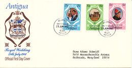 Antigua FDC 29-7-1981 Complete Set Of 3 Royal Wedding With Cachet - Antigua And Barbuda (1981-...)