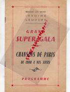 63- BRASSAC LES MINES-ISSOIRE-LEMPDES- RARE PROGRAMME CHANSONS DE PARIS-DAMIA-MARCEL VIAL-MICHEL LEGRAND-COLETTE BETTY- - Programs