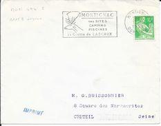 DORDOGNE 24  - MONTIGNAC   -  FLAMME N° MON 494 S    -  VOIR DESCRIPTION  -  1959  - TIMBRE N° 1115A AU TARIF IMPRIME - Postmark Collection (Covers)