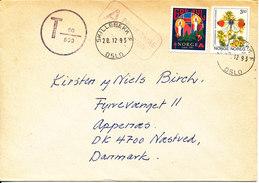 Norway Underpaid Cover With Postal Due T Sent To Denmark Skillebekk 20-12-1993 - Norwegen