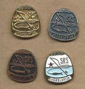 Association Of Sports Fishermen Of Yugoslavia.4 Pins Fish - Badges