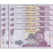 TWN - MALAWI 63b - 20 Kwacha 1.1.2015 DEALERS LOT X 10 - Prefix AU UNC - Malawi