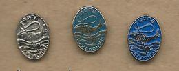 Association Of Sports Fishermen Of Macedonia.3 Pins Fish - Badges